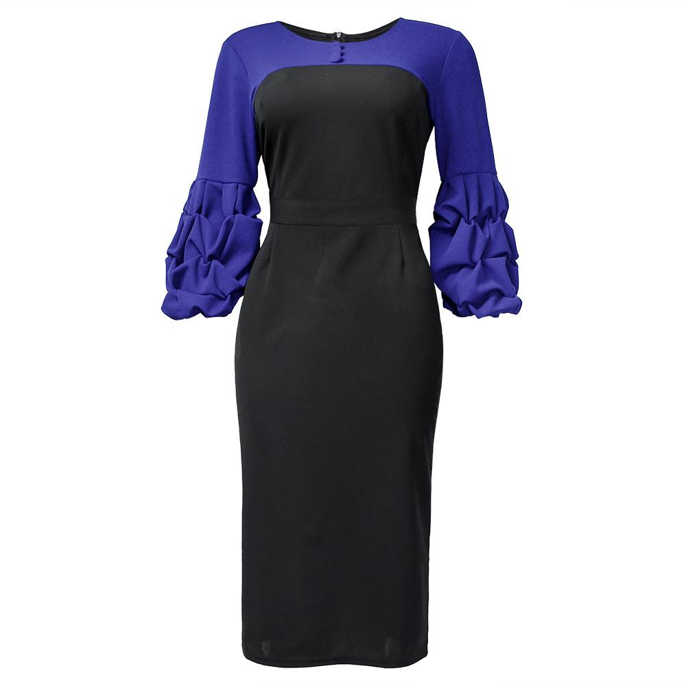 Round Neck Belt Colorblock Commuter Dress