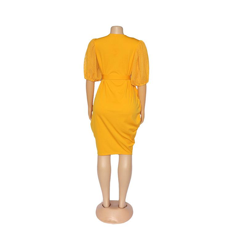 Plus Size Solid Color Midi Dress M-XL