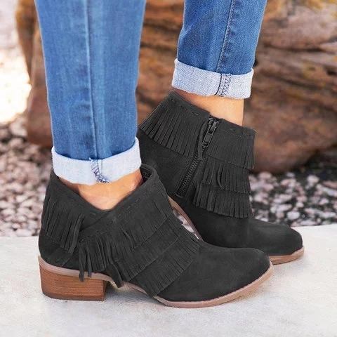 Large Size Women's Shoes Low Heel Tassel Short Boots