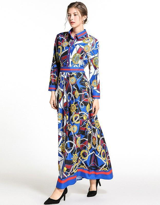 Fashion Print Long Sleeve Royal Court Dress