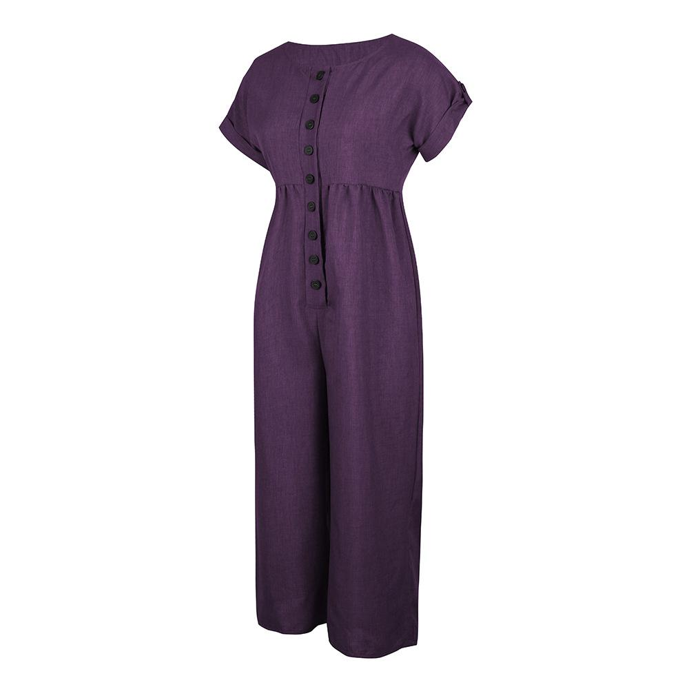 Summer Cotton Linen Solid Color Jumpsuit