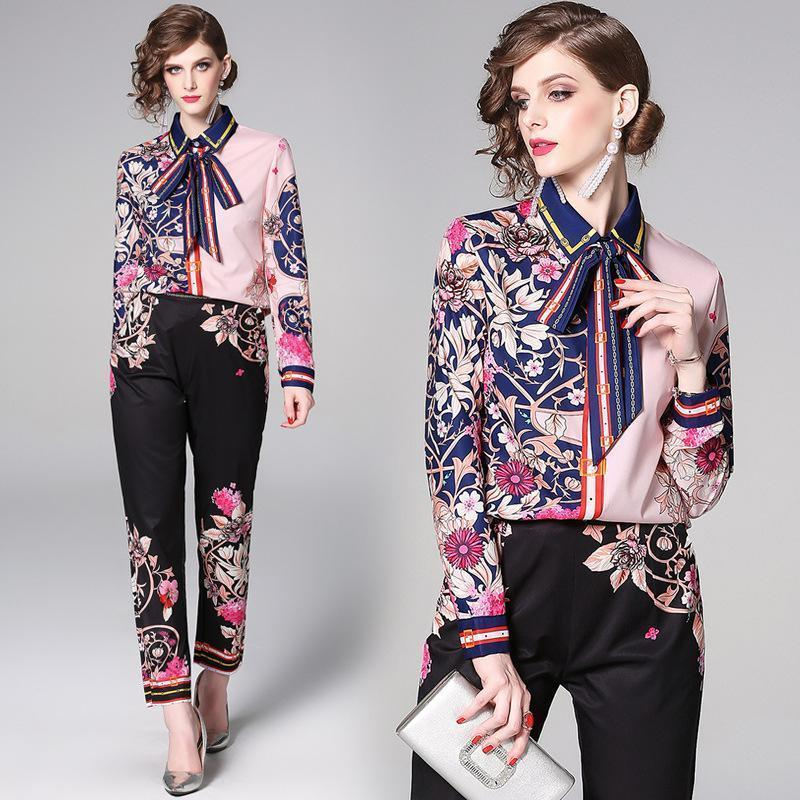 Fashion Print Top Slim Pants Two-Piece Set
