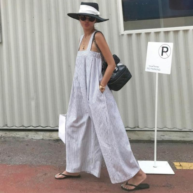 Loose Striped Wide Leg Jumpsuits