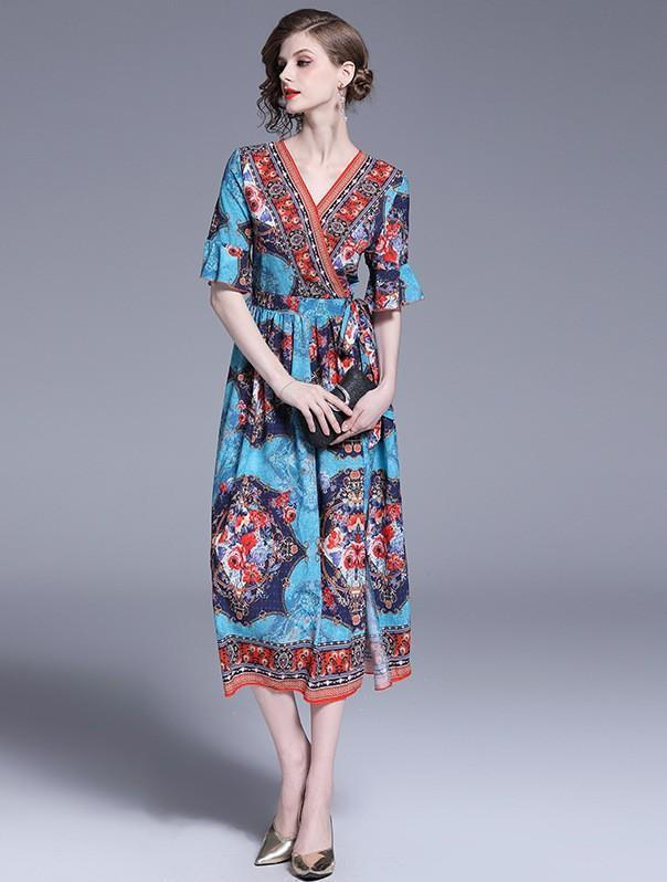 V-neck Flared Sleeves Elastic Waist Print Dress