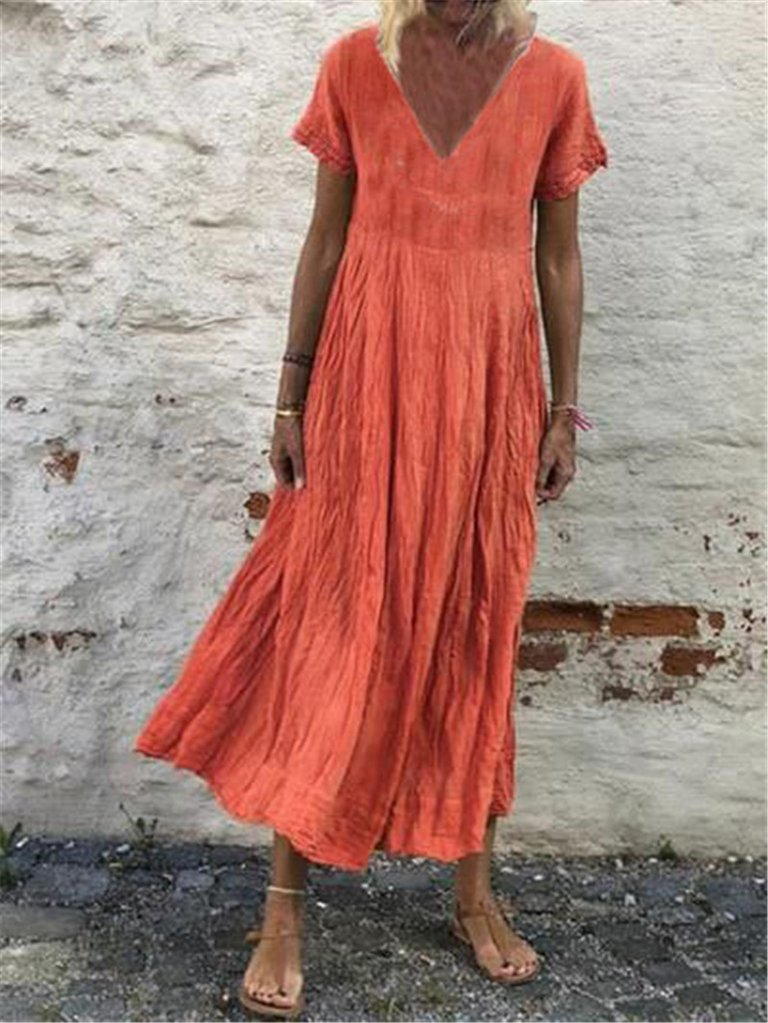 Short Sleeves V Neck Boho Maxi Dress