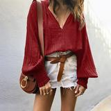 Lantern Sleeve Solid Color Plus Size Blouses