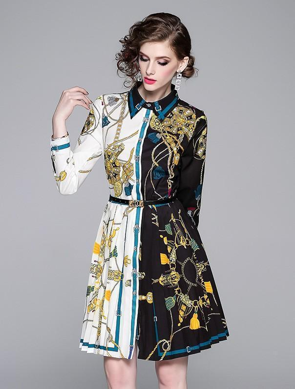 Retro Printed Lapels Long Sleeve Pleated Dress