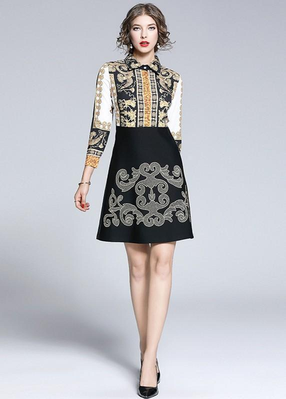 Fashion Print Stitching Heavy Embroidery Dress
