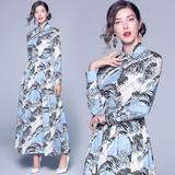 New Fashion Slim Print Long Skirt Lapel Dress