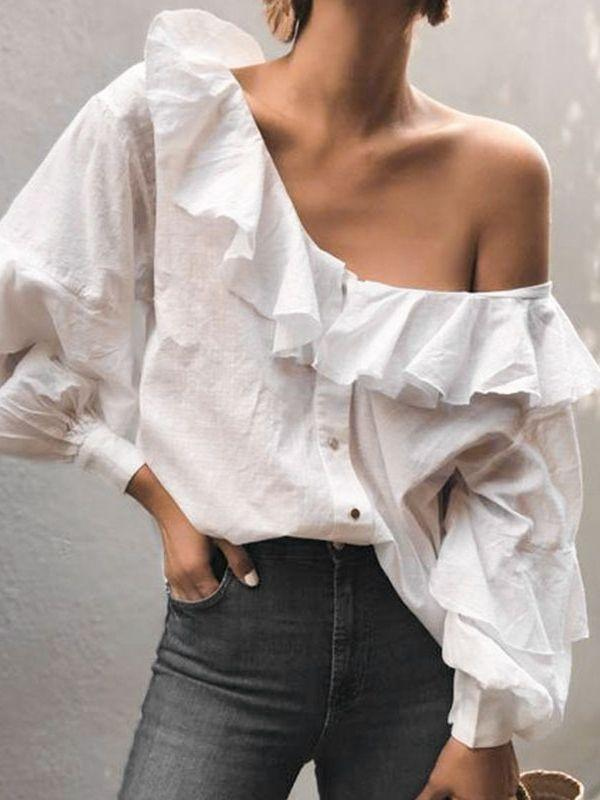 Sexy lantern Sleeve Women Ruffle One Shoulder Blouse Shirts