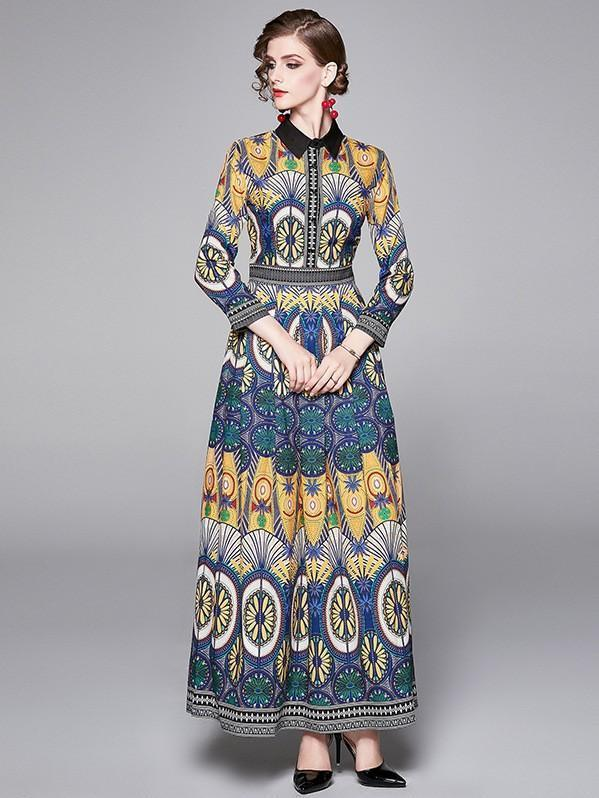 Floral Print Royal Court Women Maxi Dress