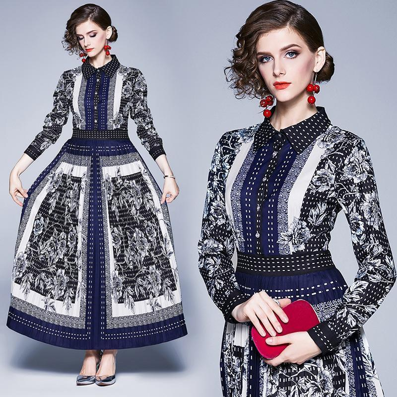 Lapel Fashion Flower Print Long Sleeve Slim Fit Dress