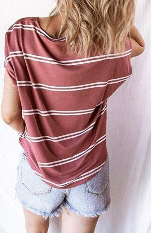 V Neck Striped Buttons T-shirt