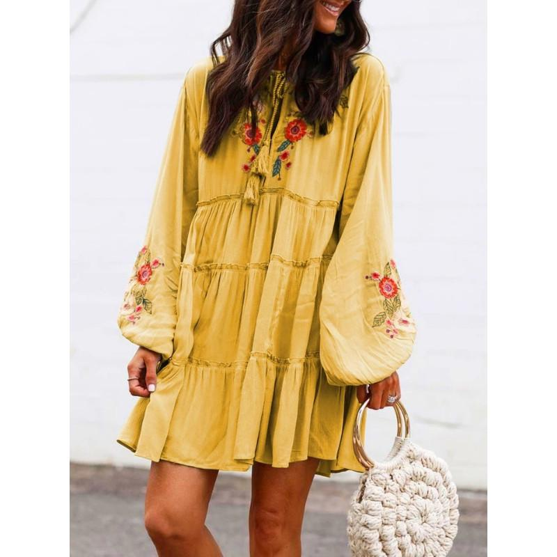 Ethnic Style Embroidery Lantern Sleeve Dress