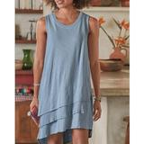 Round Neck Sleeveless Knit Cotton Multi-layer Hem Dress