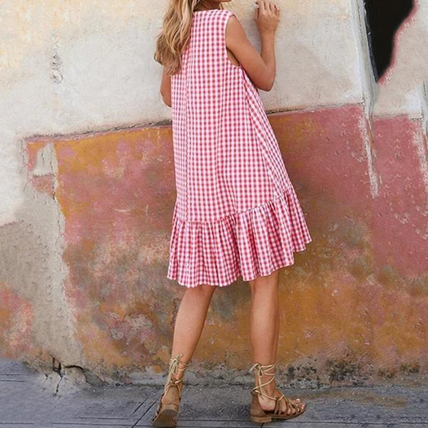 Daily Plaid Swing Sleeveless Dress