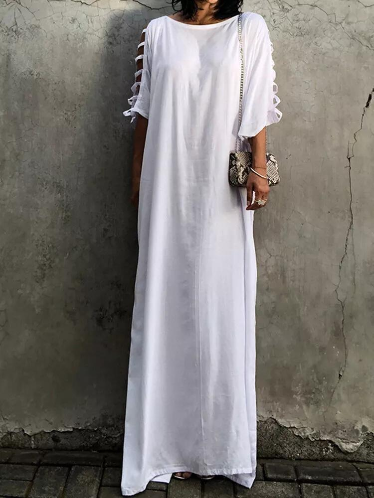 Solid Color Casual White Black Summer Dress