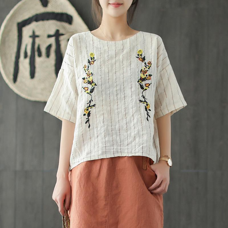 Embroidery Striped Half Sleeve Women Blouse