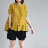 Casual Elegant Stand Neck Short Sleeve Blouse