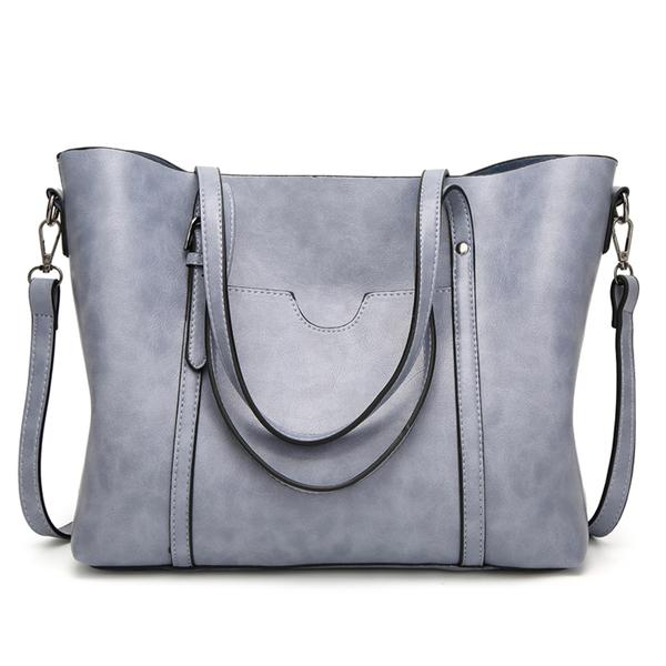 Women Large Capacity Tote Soft PU Leather Shoulder Bag
