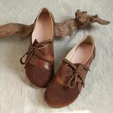 Women Vintage Leather Mixed Colors Flats